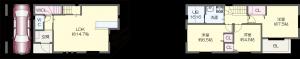 大阪市西区川口四丁目戸建 平面図(色付き)